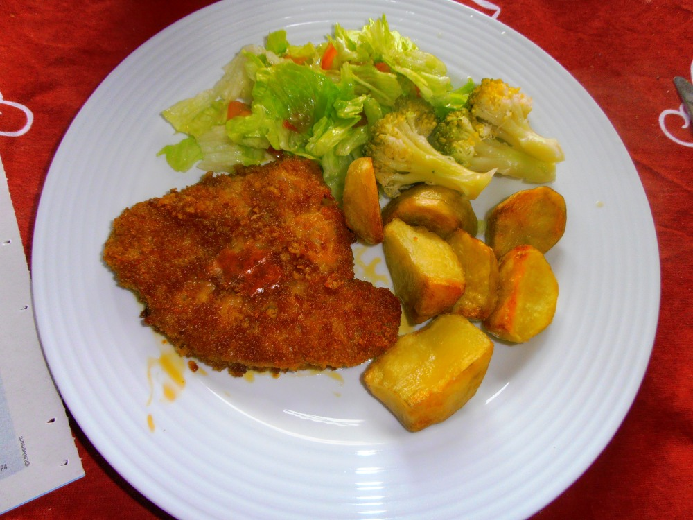 Cheese Snitzel with salad, broccoli and roasted potatoes